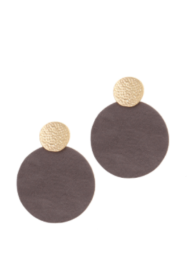 Hammered Gold & Contrasting Silver Leather Oversized Earrings