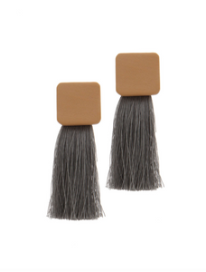 Wood and Threaded Tassel Earrings
