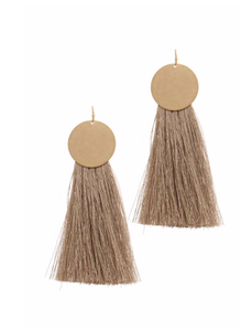 Gold Circle with Gold Metallic Tassel Earrings