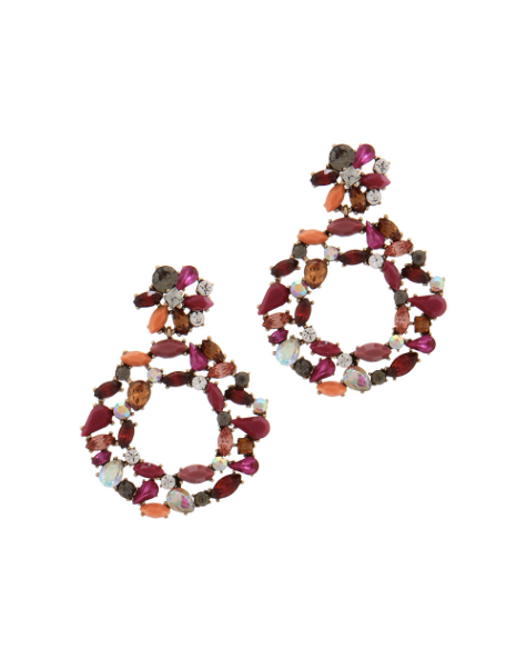 Rhinestone Circle Post Drop Earring