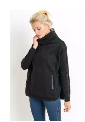 Black Turtleneck Pullover w Zip Pockets