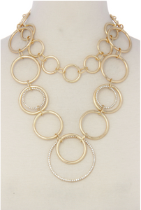Gold Circle Linked Necklace