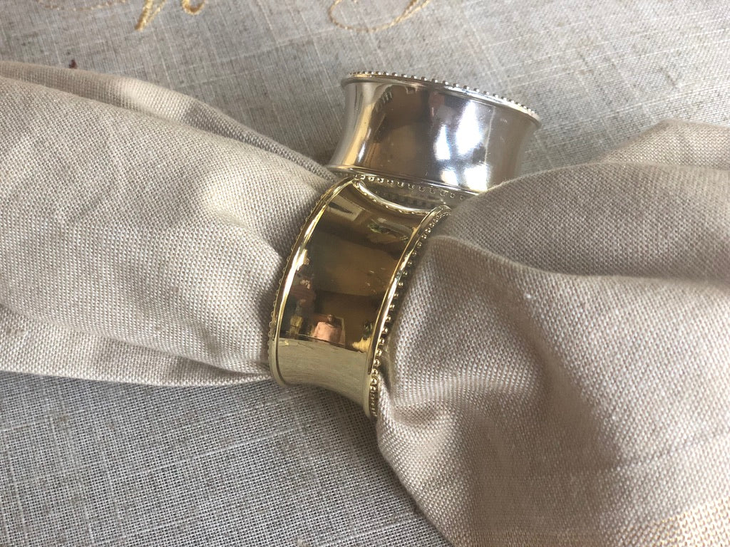 Silver & Gold Polished Metal Napkin Rings- Set of 4