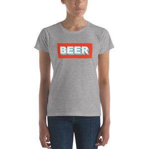 BEER in White and Turquoise Letters - Beer Nerd Shirts