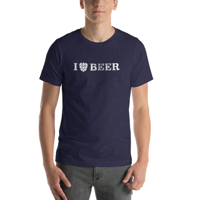 I Love Beer Distressed - White