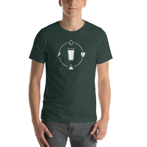 Beer Ingredients in Orbit around Pint Glass - Beer Nerd Shirts