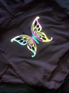 BUTTERFLY CROPPED TOP REFLECTIVE HOODIE