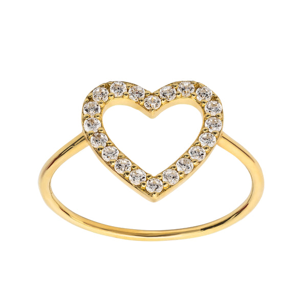 Heart pave gold ring