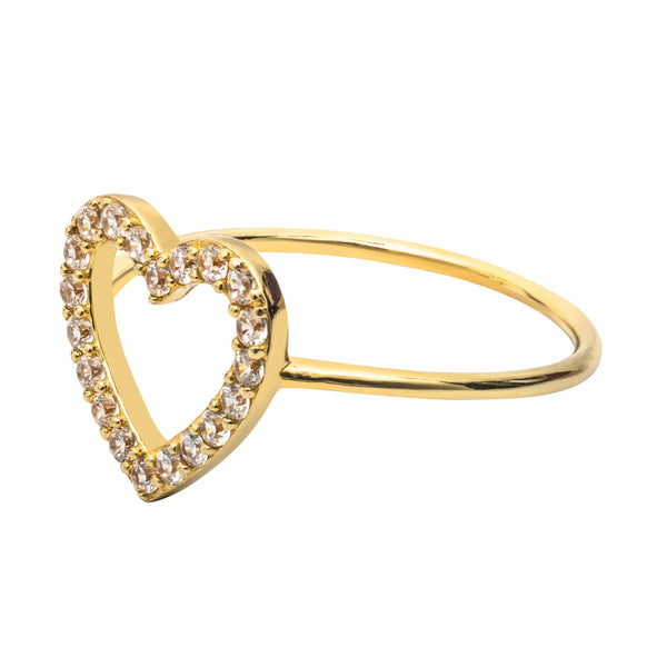 Heart ring pave gold ring