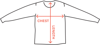 long sleeve tee size diagram