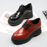 Women's Classic Lolita Leather Lace Up Students Uniform Dress Platform Shoes