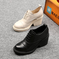 Women's Classic Lace Up Leather Platform Shoes Ankle Boots