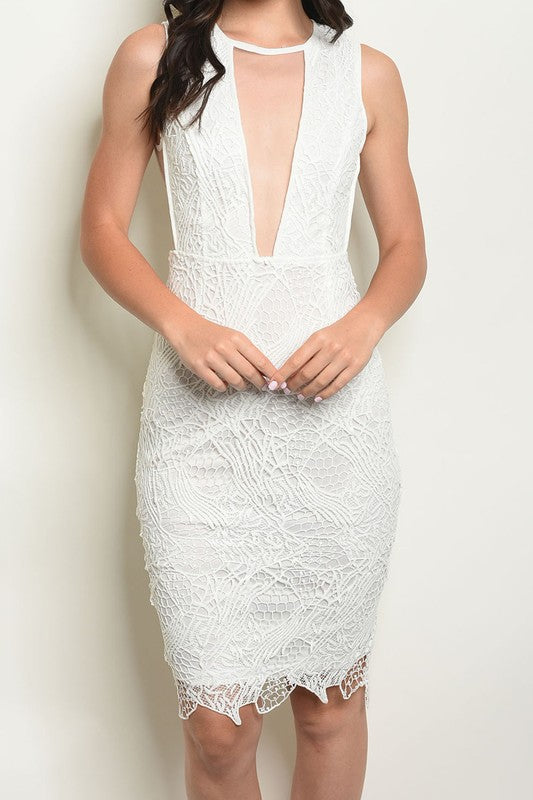 CROCHET LACE V CUT SLEEVELESS DRESS
