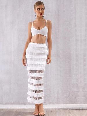 Two Piece White Crop and Skirt