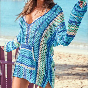 Bright Blues and stripes Crochet Bikini Swim wear Cover ups