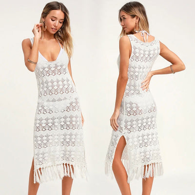 White Crochet Knitted Beach Cover up  Robe with Tassels