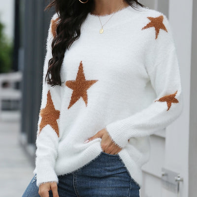 Stars design long sleeve pullover puff sweater