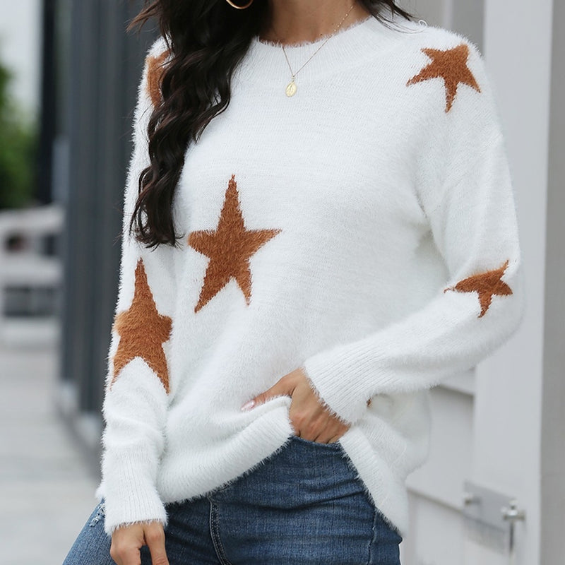 New Fall Autumn Winter White and burnt Orange stars design long sleeve pullover sweater