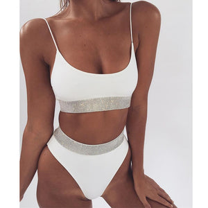 White, Black and silver Two piece with gold trim elastic high waist swimsuit