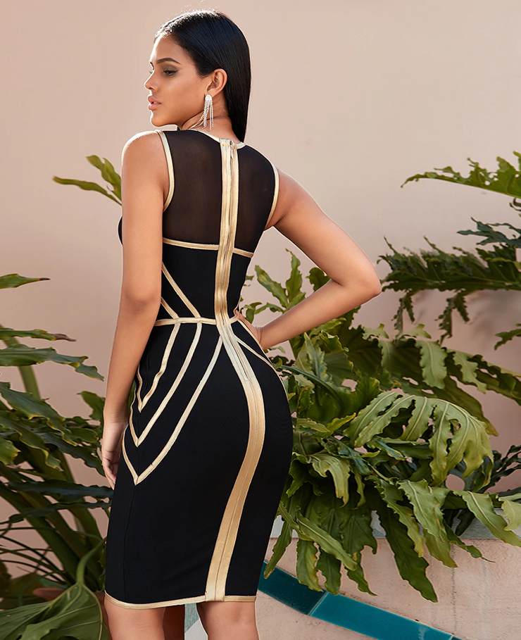 New Gold and Black Trim Mesh Design Bodycon Bandage Dress