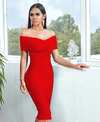 Off Shoulder Ruffle Black, Red and light Green Bandage Mini Dress