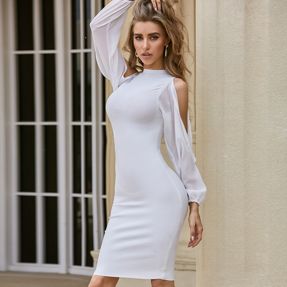 Elegant white mesh Long Sleeve open flare arm Bandage Party club Dress