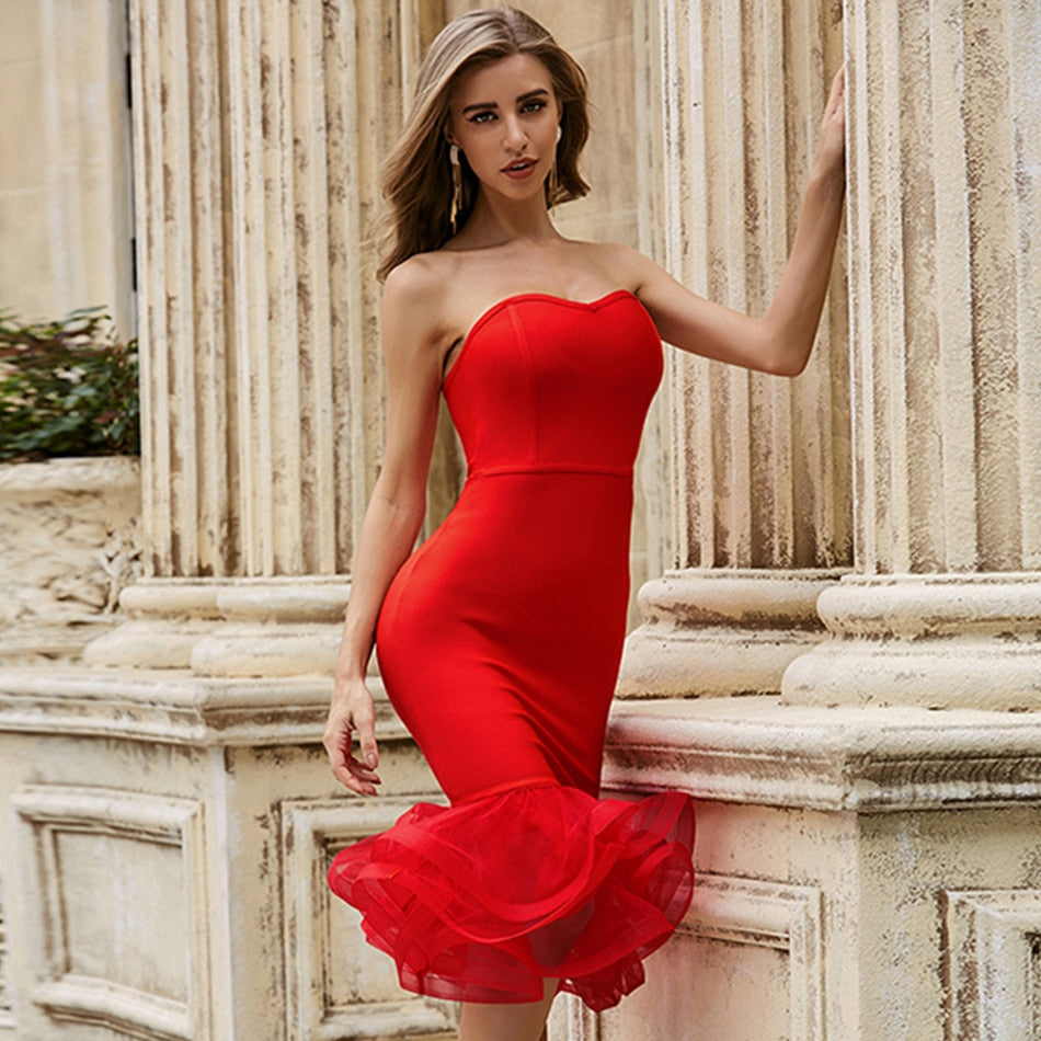 Women's red Bandage Mermaid Ruffle skirt strapless party Dress