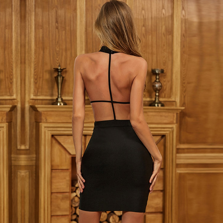 Black open back Halter top style Bodycon Bandage Dress
