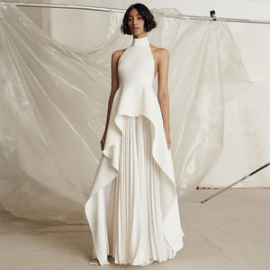 New Summer Women White & Backless Bandage Halter pleated ruffle Party Dress