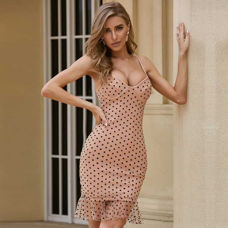 Summer Polka Dot Nude Tan and Black Women Bandage Spaghetti Strap Mermaid Mini party dress