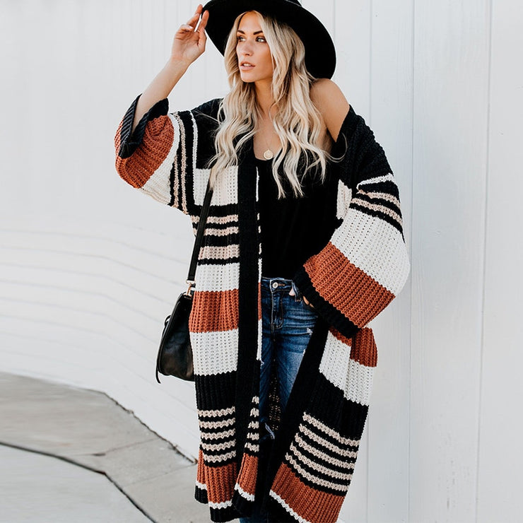 Flare Long Sleeve Cardigan Vintage Striped Autumn Fall Warm Coats Knitwear Boho Sweaters =