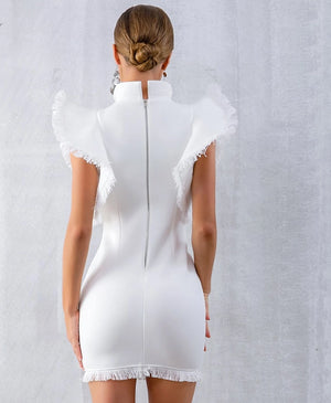 White Ruffle Bodycon Club Dress