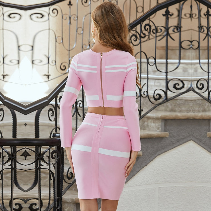 Pink and white Bandage bodycon Two Pieces Set Striped Hollow Out Party Sets Dress