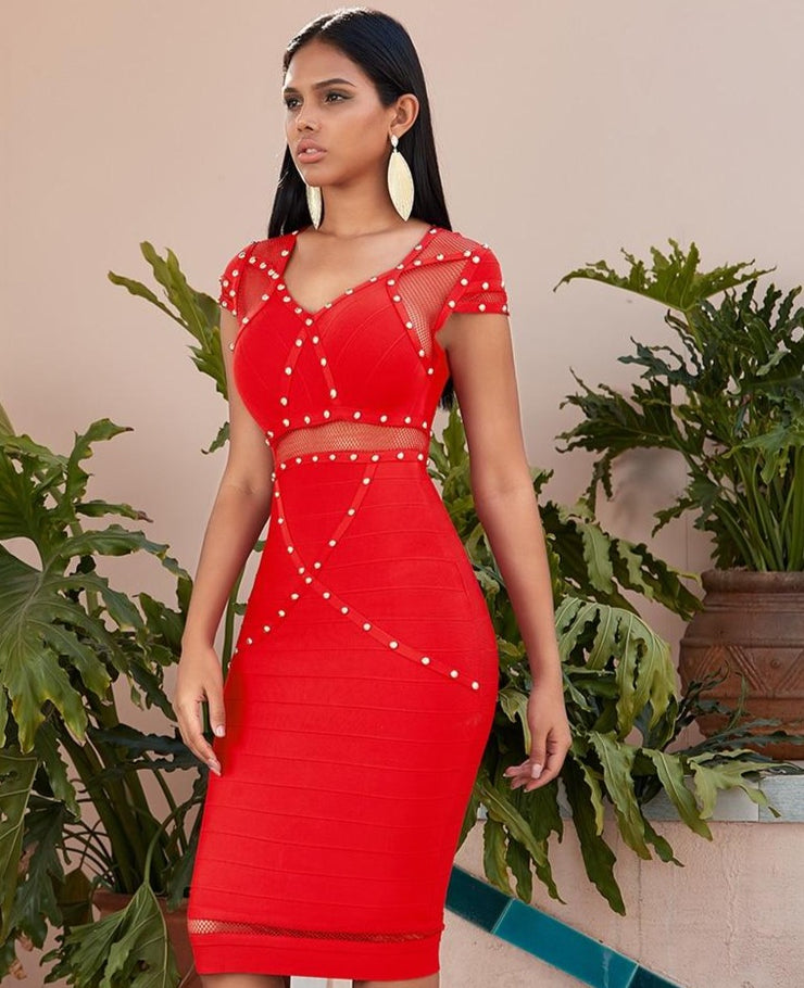 Holiday Red gold stud stones Bandage Party Dress