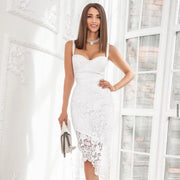 White Lace thin strap Club Party Bandage Midi Dress