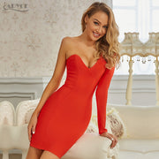 Red One Shoulder Long Sleeve Bodycon Bandage Party Dress