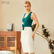 Hunter green and white Bandage Party Dress