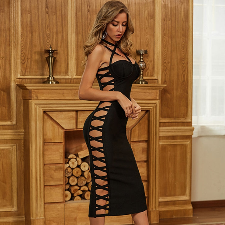 Sexy Black Halter style Cut out Hollow Bandage Bodycon Party Club Dress