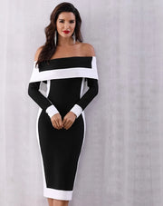 Black and White Bodycon Bandage Dress