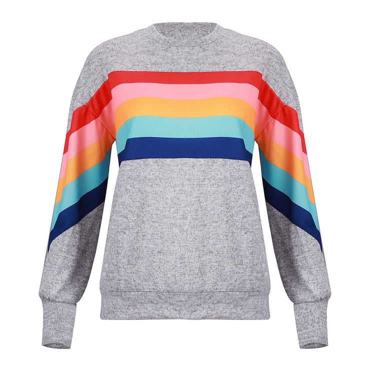 Color Striped Knitted Polyester rainbow stripe Longsleeve Women's sweateshirts