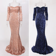 Elegant Off the Shoulder Gold Navy Green Sequin Long Dress Floor Length Party Gown