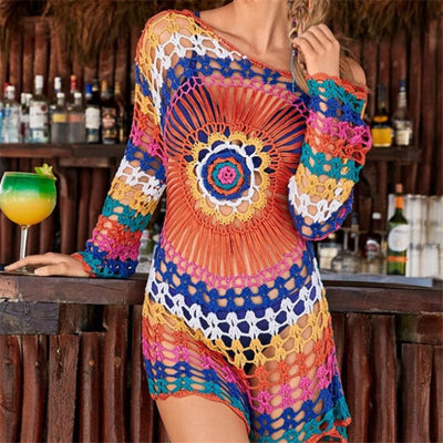 Handmade Mutlicolor and Solid Color Knitted Beach Cover Up Tunics for Beach Swimsuit Crochet Cover Ups Sarong