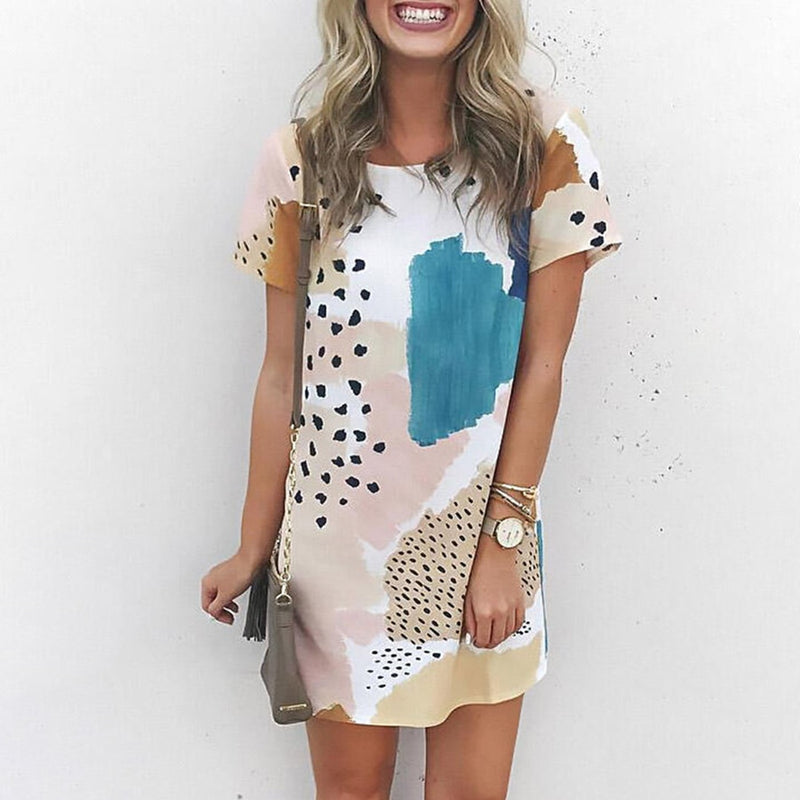 Leopard prints, blues and Pink Casual cotton Mini Dress