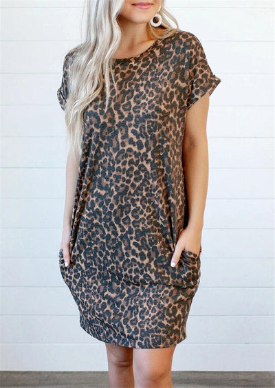 Leopard Printed Open Back Pocket Mini Summer Dress