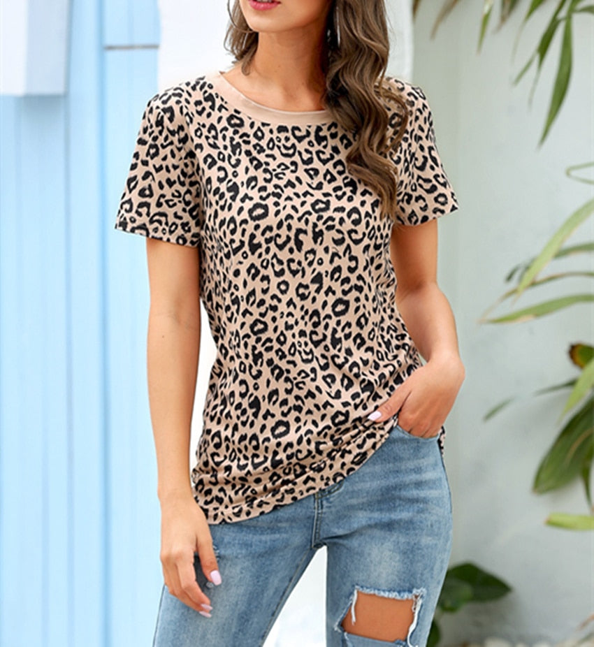 Leopard T shirt Summer Short Sleeve Women Casual O neck shirt