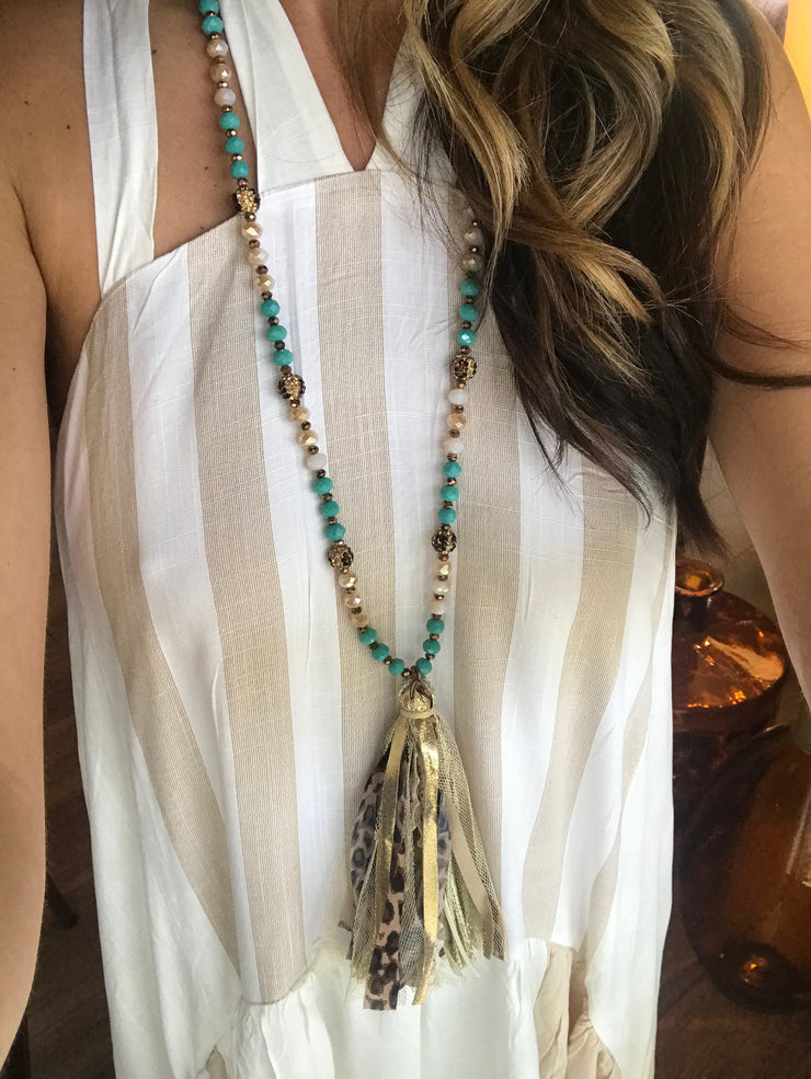 Leopard and Teal Necklace