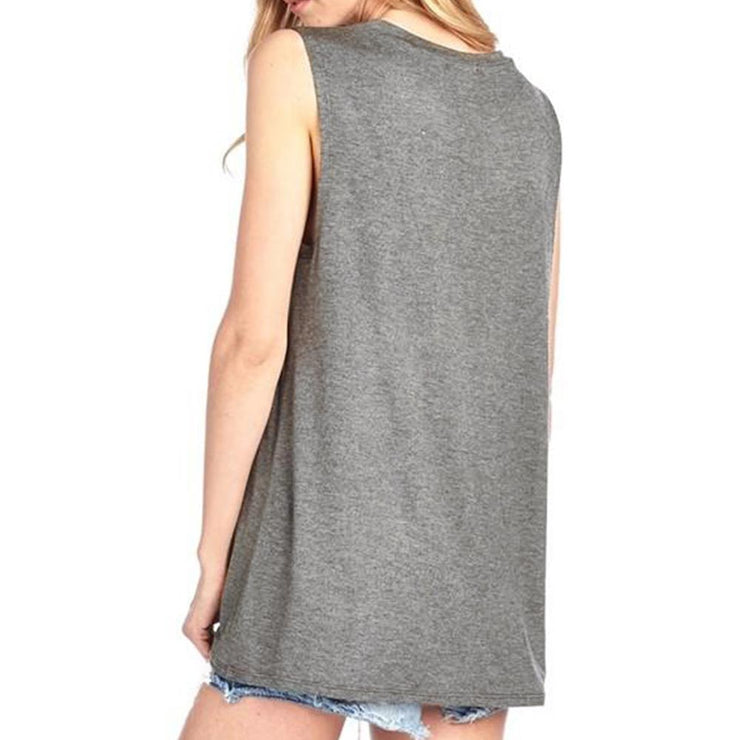 Good Vibes Print Gray O Neck Loose Tshirt