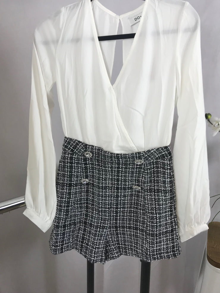 White and black checkered Open back Romper