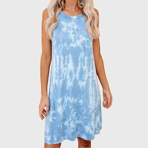 Sexy Sky blue and Pink Tie Dye Mini Summer Sleeveless Dresses