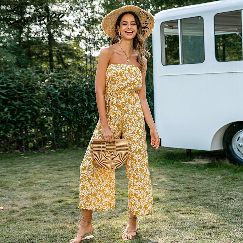 Yellow and White Bohemian tube top  floral print long jumpsuit Romper